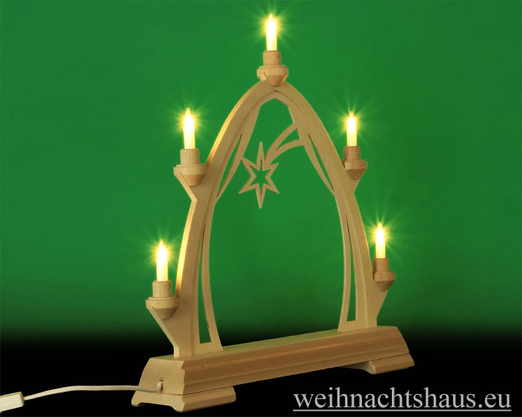 Seiffen Weihnachtshaus - Schwibbogen  ohne Figuren leer 40cm 5 Kerzen - Bild 2