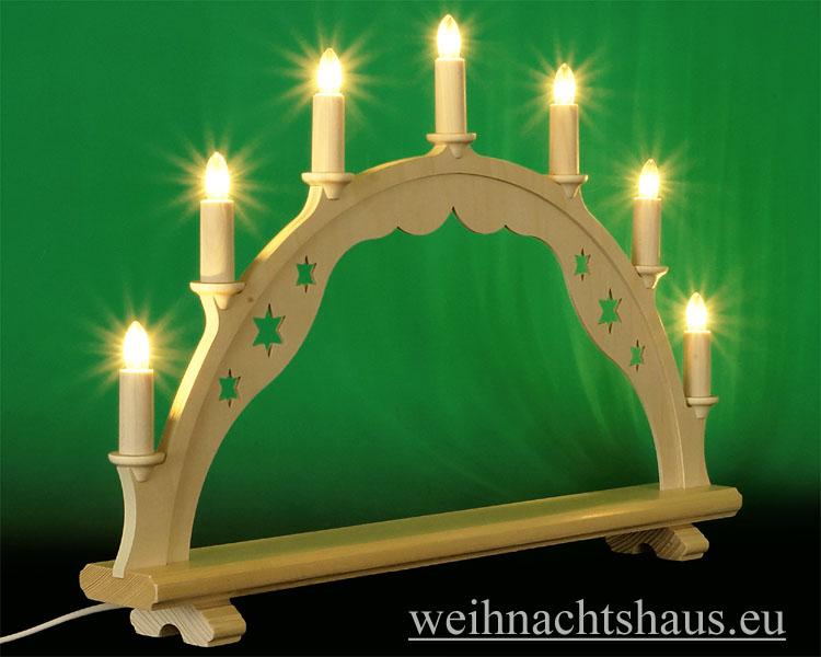 Seiffen Weihnachtshaus - Schwibbogen ohne Figuren leer 55cm 7 Kerzen - Bild 2