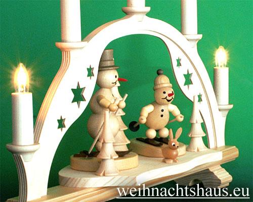 Seiffen Weihnachtshaus - Schwibbogen 5 Kerzen Schneemann 38 cm - Bild 2
