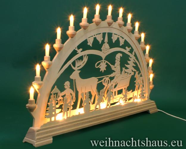 Seiffen Weihnachtshaus - Schwibbogen 20 Kerzen  Weihnachtsmann mit Schlitten 80cm - Bild 2