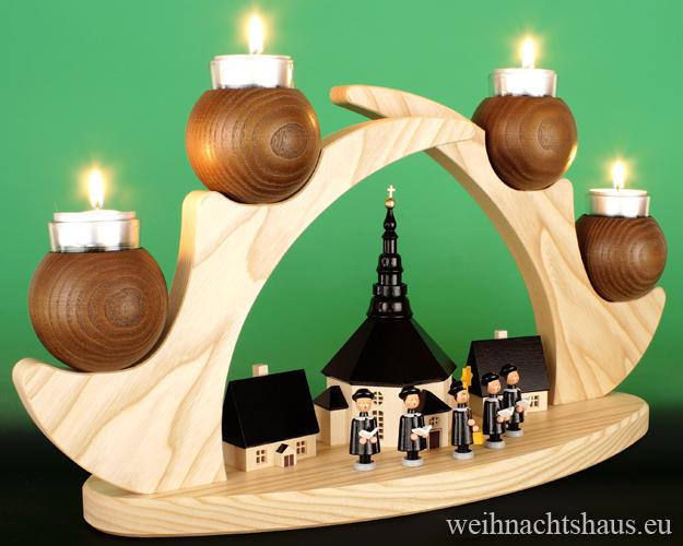Seiffen Weihnachtshaus - Schwibbogen  ohne Figuren leer Teelichte 45cm braun - Bild 3