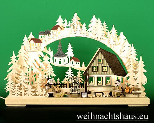 Seiffen Weihnachtshaus - Doppelschwibbogen Erzgebirge 10 Kerzen Weihnachtsmannwerkstatt 43 cm - Bild 1