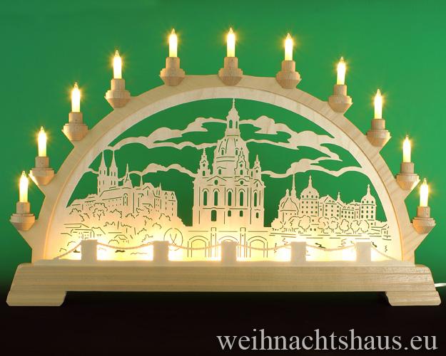 Seiffen Weihnachtshaus - Schwibbogen 16 Kerzen Frauenkirche 63 cm - Bild 1