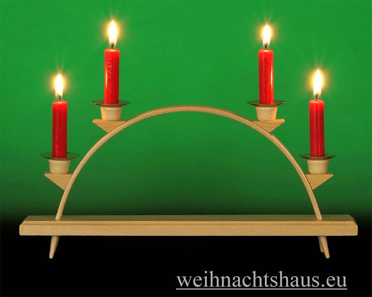 Seiffen Weihnachtshaus - Schwibbogen  ohne Figuren leer Wachskerzen 32cm - Bild 1