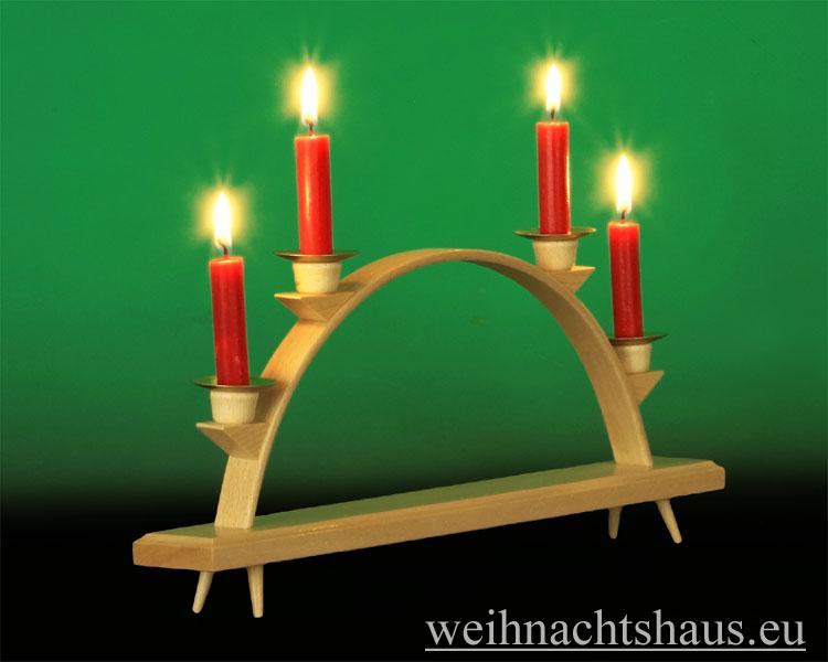Seiffen Weihnachtshaus - Schwibbogen  ohne Figuren leer Wachskerzen 32cm - Bild 2