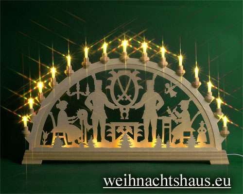 Seiffen Weihnachtshaus - Schwibbogen 20 Kerzen Bergmann 80 cm - Bild 1