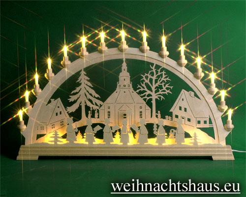 Seiffen Weihnachtshaus - Schwibbogen 20 Kerzen Seiffener Kirche 80 cm - Bild 1