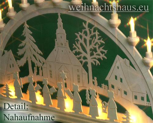 Seiffen Weihnachtshaus - Schwibbogen 20 Kerzen Seiffener Kirche 80 cm - Bild 2