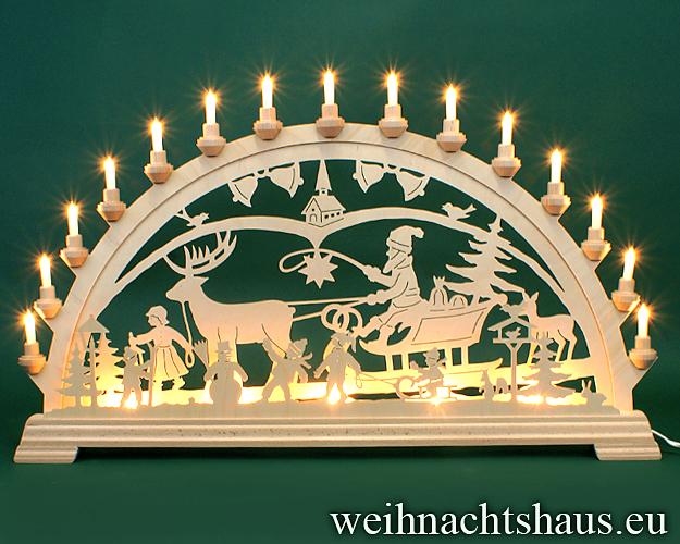 Seiffen Weihnachtshaus - Schwibbogen 20 Kerzen  Weihnachtsmann mit Schlitten 80cm - Bild 1