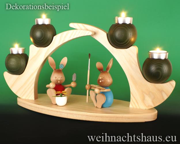 Ständer für Kerzen Kerzenständer Leuchter Kerzenleuchter Teelichtleuchter Schwibbogen  ohne Figuren leer Teelichte grün Osterhasen Osterhasenständer Osterhasenleuchter
