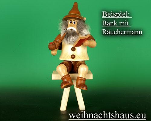 Seiffen Weihnachtshaus - Bank für sitzende Räuchermänner Kantenhocker 10 cm - Bild 2