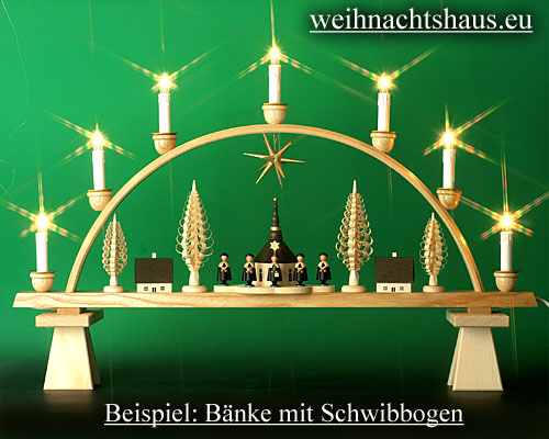 Seiffen Weihnachtshaus - Bank für sitzende Räuchermänner Kantenhocker 10 cm - Bild 3