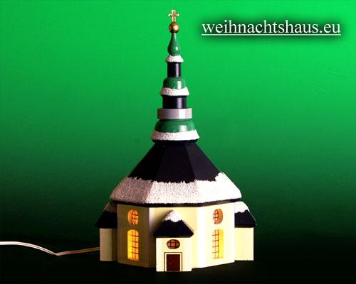 Seiffen Weihnachtshaus - Kirche zum Beleuchten 15 cm Schnee - Bild 1