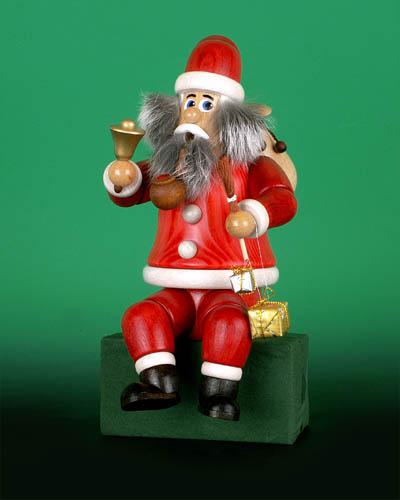 Seiffen Weihnachtshaus - <!--02-->Räuchermann sitzend Wichtel Weihnachtsmann - Bild 1