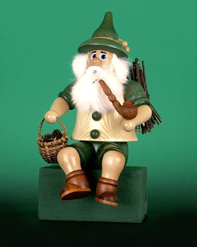 Seiffen Weihnachtshaus - <!--02-->Räuchermann Wichtel sitzend  Zapfensammler - Bild 1