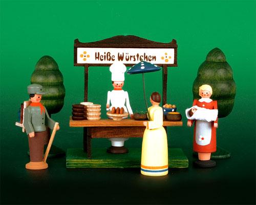 Seiffen Weihnachtshaus - Sommermarkt Würstelstand 6 tlg - Bild 1