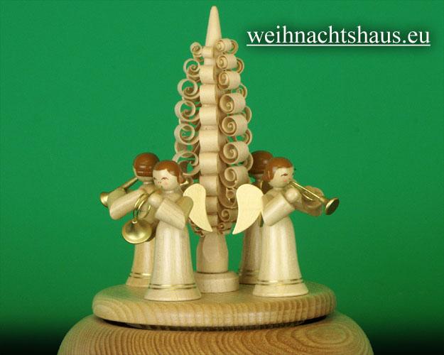 Seiffen Weihnachtshaus - <!--01-->Spieldose Erzgebirge Engelkonzert natur - Bild 2