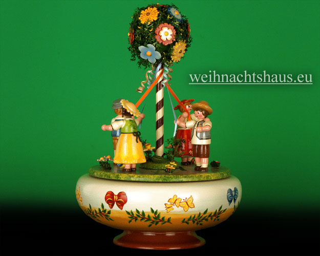 Seiffen Weihnachtshaus - <!--01-->Spieldose Hubrig Holzkunst Maientanz - Bild 1