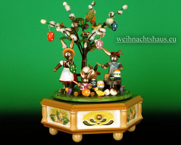 Seiffen Weihnachtshaus - <!--01-->Spieldose Hubrig Holzkunst Fleißige Osterhasen - Bild 1