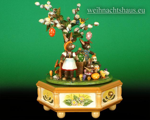 Seiffen Weihnachtshaus - <!--01-->Spieldose Hubrig Holzkunst Fleißige Osterhasen - Bild 2