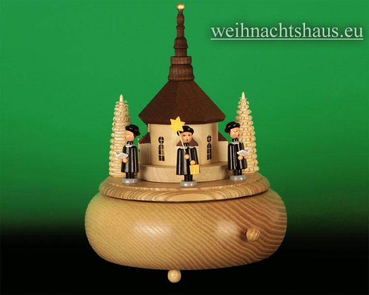 Seiffen Weihnachtshaus - <!--01-->Spieldose Erzgebirge Sänger mit Seiffener Kirche - Bild 1