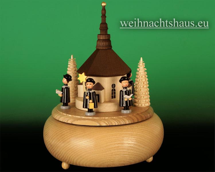 Seiffen Weihnachtshaus - <!--01-->Spieldose Erzgebirge Sänger mit Seiffener Kirche - Bild 2
