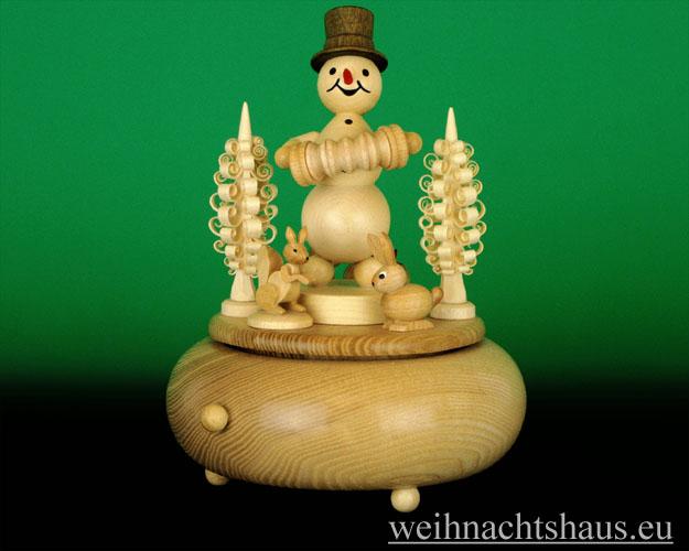 Seiffen Weihnachtshaus - <!--01-->Spieldose Erzgebirge Kugelschneemann Musikant Akkordeon - Bild 1