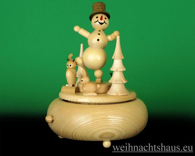 Seiffen Weihnachtshaus - <!--01-->Spieldose Erzgebirge Kugelschneemann Eisläufer - Bild 1