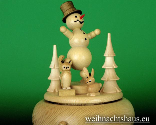 Seiffen Weihnachtshaus - <!--01-->Spieldose Erzgebirge Kugelschneemann Eisläufer - Bild 2