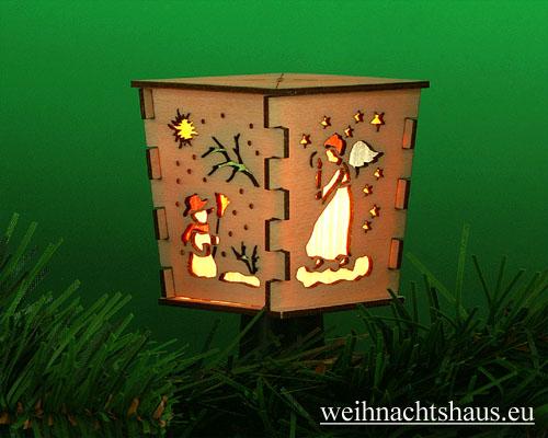 Seiffen Weihnachtshaus - Stecklaterne 4 seitig Weihnachtsmotiv - Bild 1