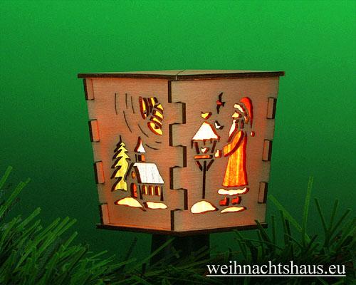 Seiffen Weihnachtshaus - Stecklaterne 4 seitig Weihnachtsmotiv - Bild 2