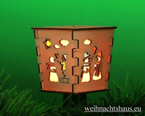 Seiffen Weihnachtshaus - Stecklaterne 4 seitig Weihnachtsmann - Bild 1