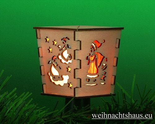 Seiffen Weihnachtshaus - Stecklaterne 4 seitig Weihnachtsmann - Bild 2