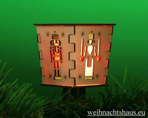 Seiffen Weihnachtshaus - Stecklaterne 4 seitig Engel und Bergmann - Bild 1