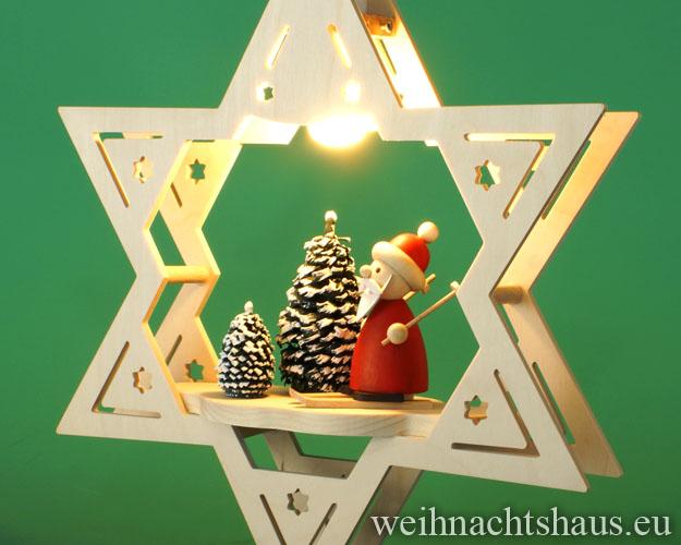 Seiffen Weihnachtshaus - Fensterbild elektrisch beleuchtet Weihnachtsmann im Winterwald - Bild 2