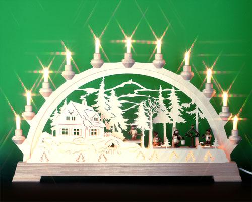 Seiffen Weihnachtshaus - Schwibbogen 16 Kerzen Vogelfütterung 63 cm - Bild 1