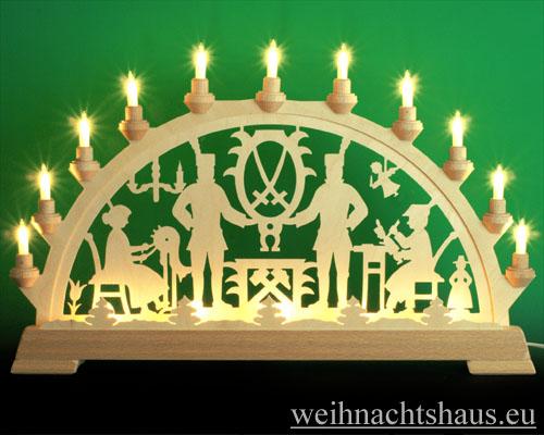 Seiffen Weihnachtshaus - Schwibbogen 16 Kerzen Bergmann 63 cm - Bild 1