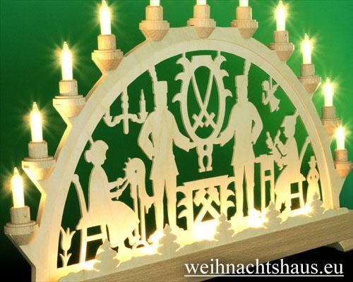 Seiffen Weihnachtshaus - Schwibbogen 16 Kerzen Bergmann 63 cm - Bild 2