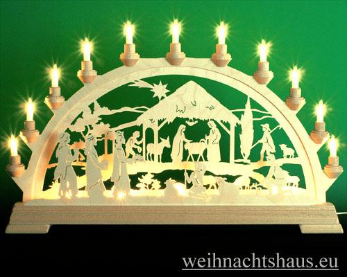 Seiffen Weihnachtshaus - Schwibbogen 16 Kerzen Geburt mit Könige 63 cm - Bild 1