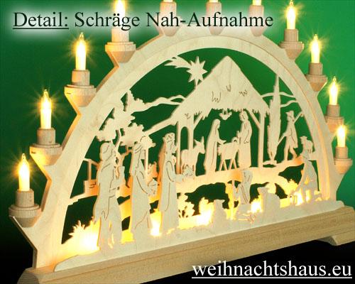 Seiffen Weihnachtshaus - Schwibbogen 16 Kerzen Geburt mit Könige 63 cm - Bild 2