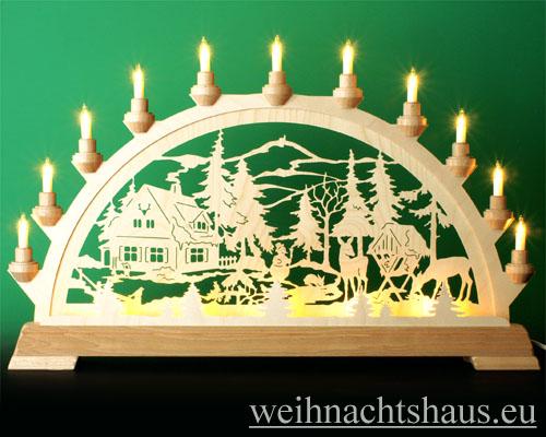 Seiffen Weihnachtshaus - Schwibbogen 16 Kerzen Forsthaus 63 cm - Bild 1