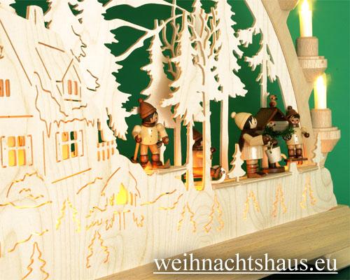 Seiffen Weihnachtshaus - Schwibbogen 16 Kerzen Vogelfütterung 63 cm - Bild 2