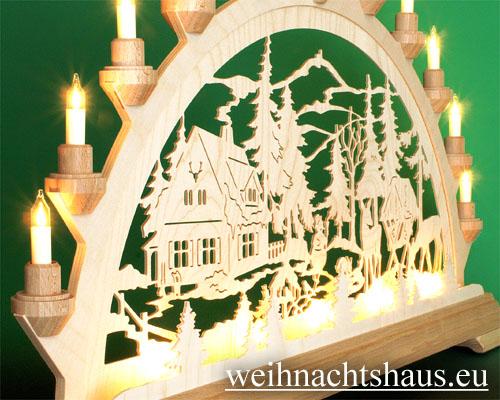 Seiffen Weihnachtshaus - Schwibbogen 16 Kerzen Forsthaus 63 cm - Bild 2