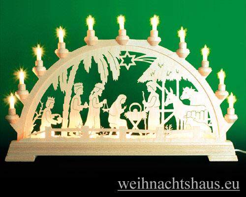 Seiffen Weihnachtshaus - Schwibbogen 16 Kerzen Geburt im Haus 63 cm - Bild 1