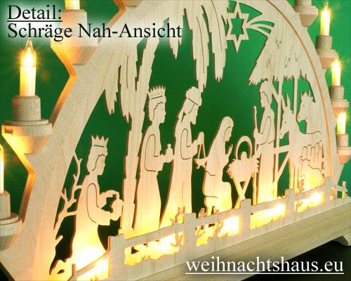 Seiffen Weihnachtshaus - Schwibbogen 16 Kerzen Geburt im Haus 63 cm - Bild 2