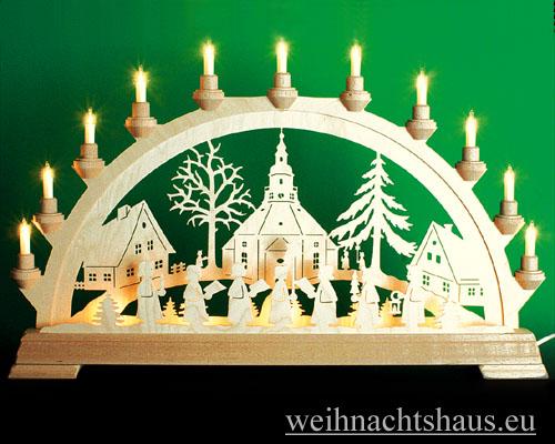 Seiffen Weihnachtshaus - Schwibbogen 16 Kerzen Seiffener Kirche 63 cm - Bild 1