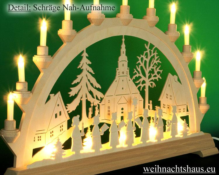 Seiffen Weihnachtshaus - Schwibbogen 16 Kerzen Seiffener Kirche 63 cm - Bild 2