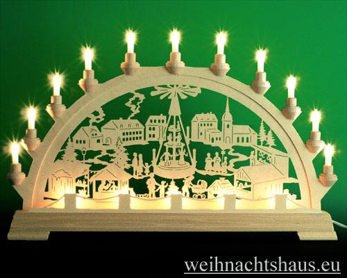 Seiffen Weihnachtshaus - Schwibbogen 16 Kerzen Weihnachtsmarkt 63 cm - Bild 1