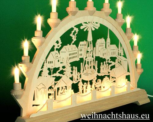 Seiffen Weihnachtshaus - Schwibbogen 16 Kerzen Weihnachtsmarkt 63 cm - Bild 2