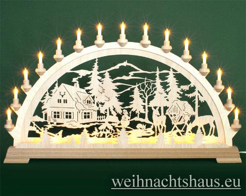 Seiffen Weihnachtshaus - Schwibbogen 20 Kerzen Forsthaus 80 cm - Bild 1